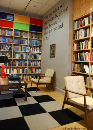 An interior view of the Kurt Vonnegut Memorial Library