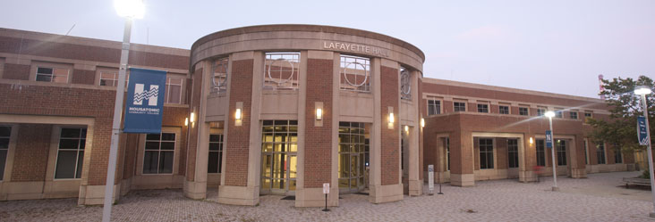 Outside Lafayette Hall at the Housatonic Community College