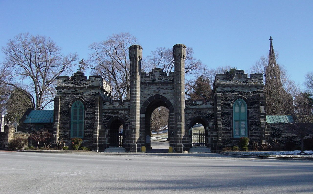 Green Mount Cemetery holds numerous notable burials, including that of John Wilkes Booth, who assassinated President Abraham Lincoln. Other Booth family members are interred here as well.
