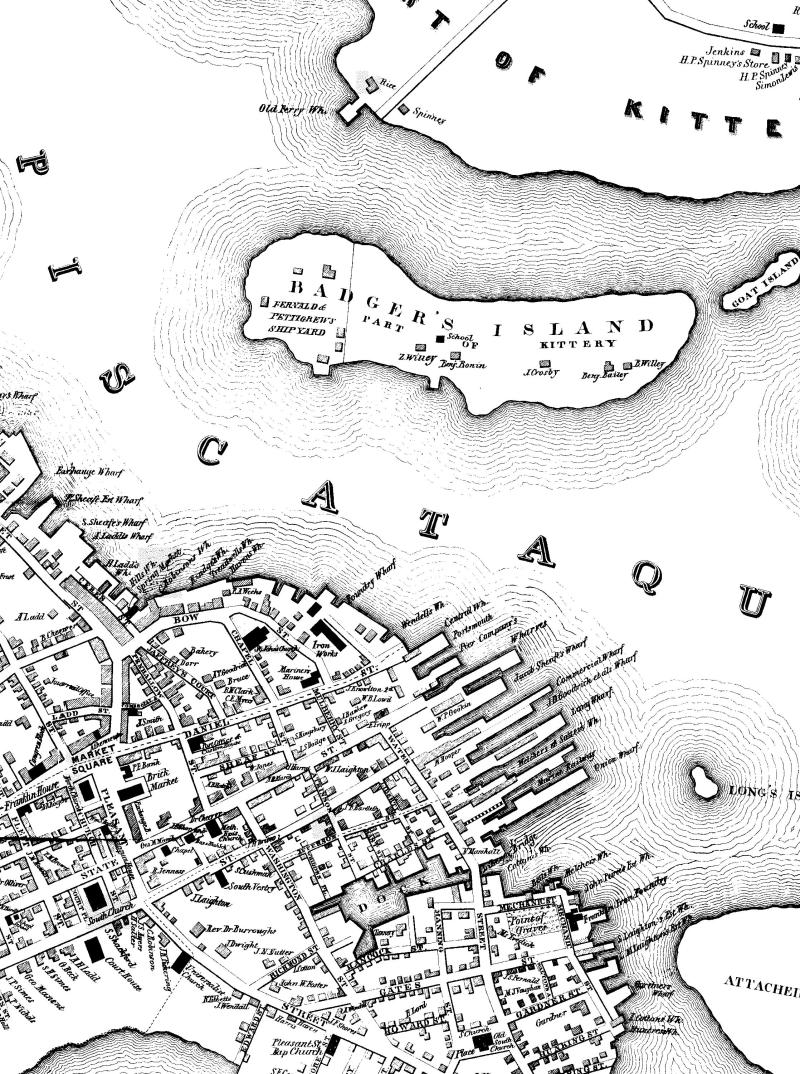 Map of Badger Island showing location of Fernald & Petigrew Shipyard (formerly Badger Shipyard).