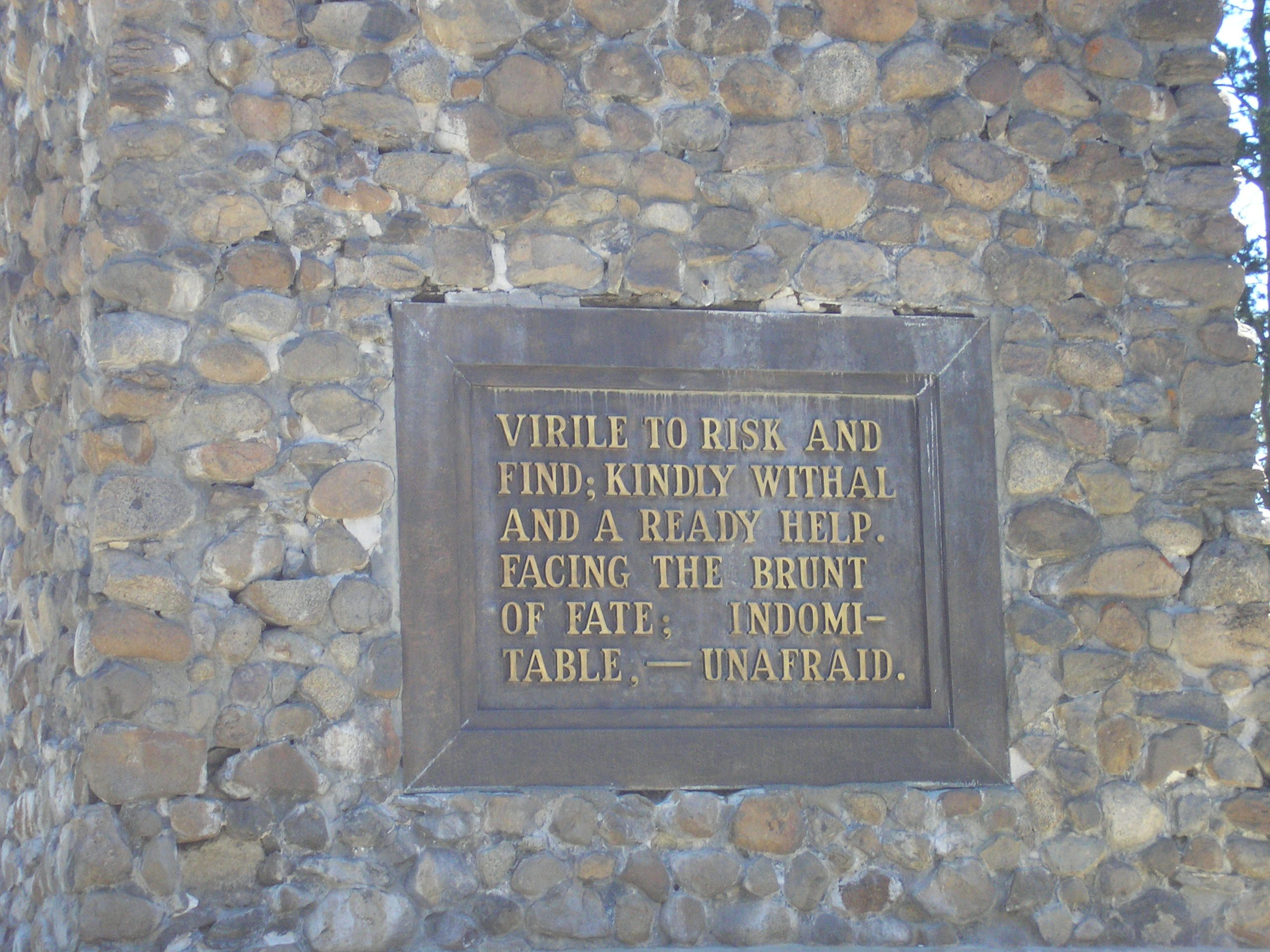 Plaque at base of monument