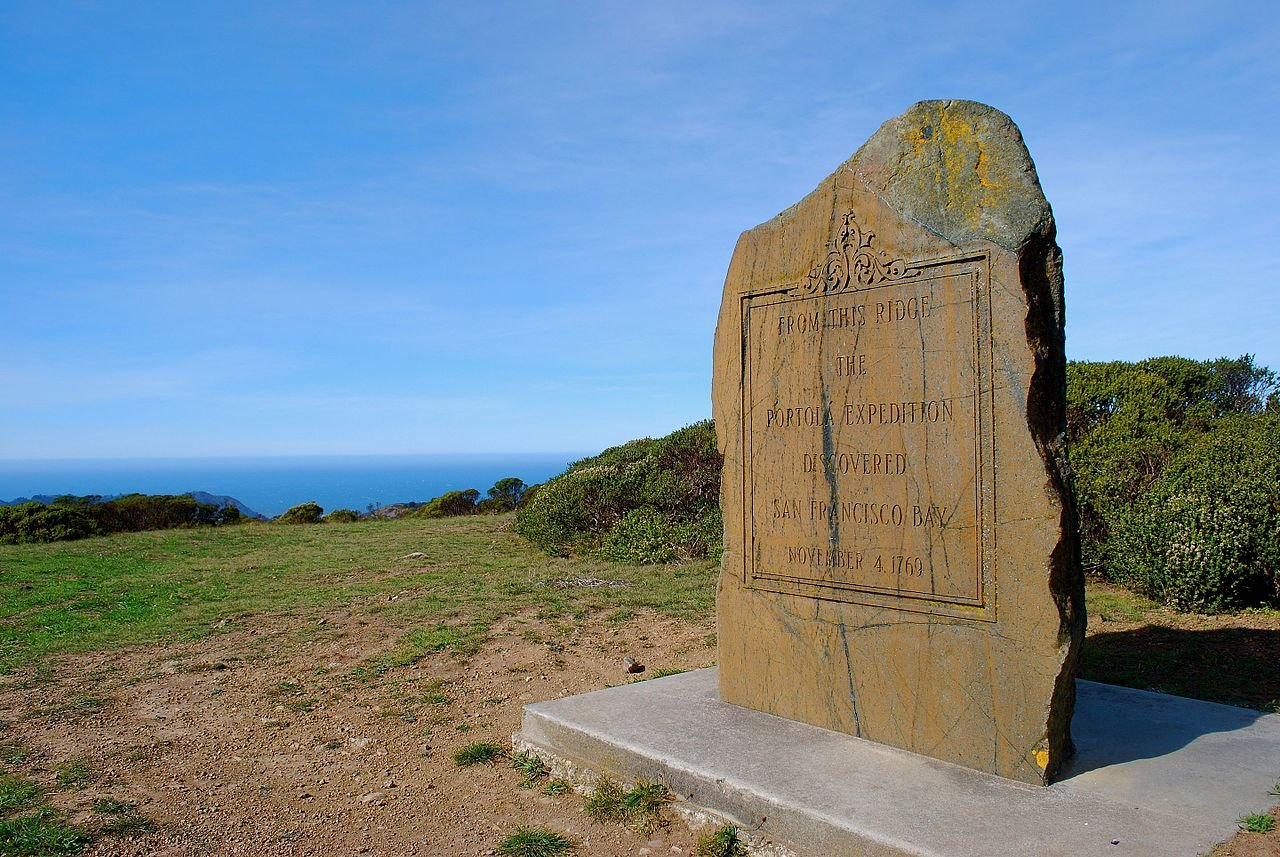 This stone marker commemorates the first-recorded European sighting of San Francisco Bay.