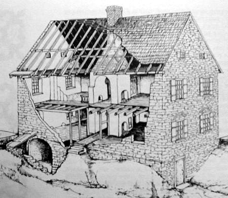 This cut-away drawing reveals how the Schifferstadt was constructed.