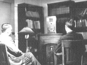 Two men view the television signal from the University of Iowa in 1934. Image from the University of Iowa Special Collections.