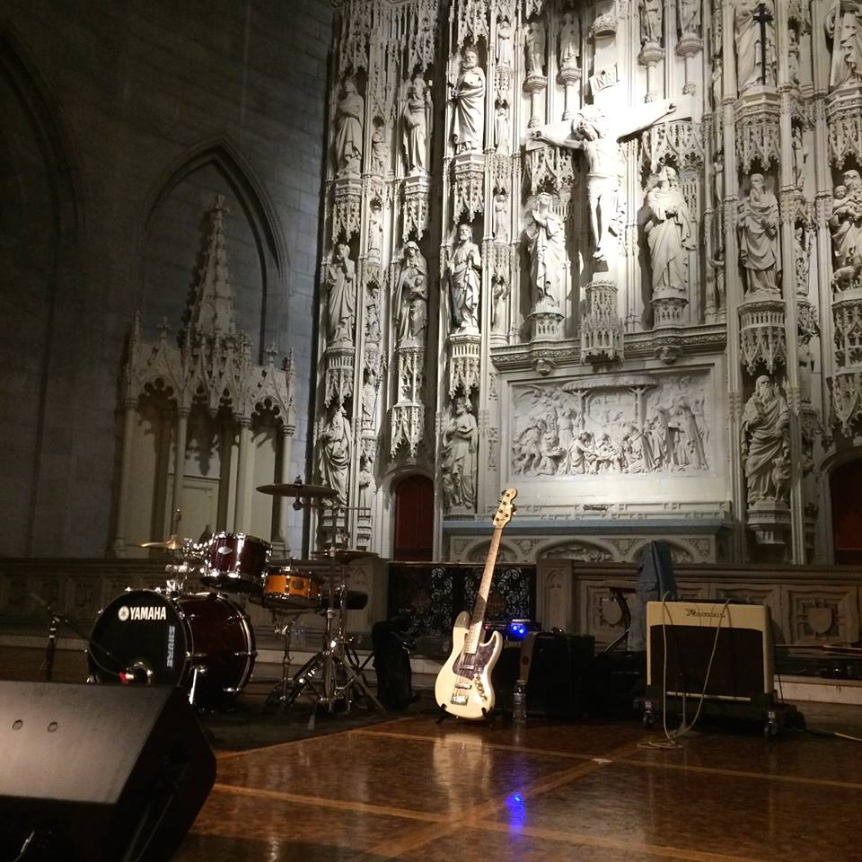 A view of the cathedral's reredos, with rock instruments (from a recent performance) in the foreground