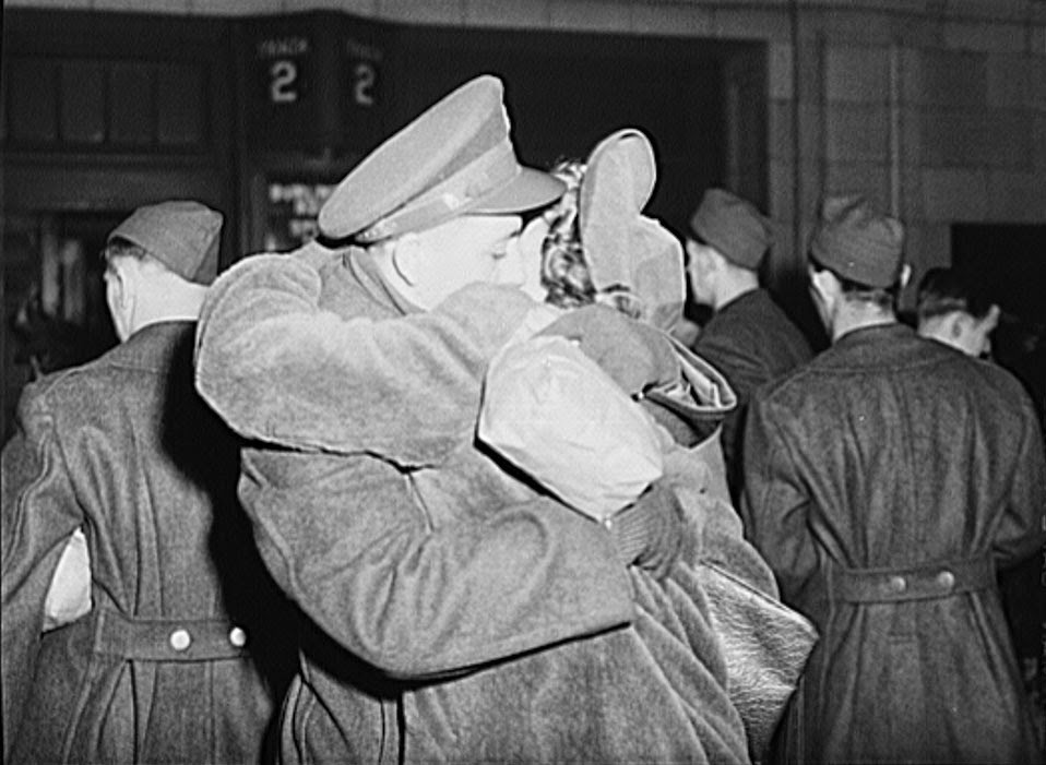 A World War II couple embracing at Union Station
