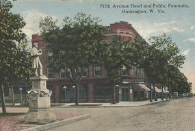 This image shows the Union statue, as well as a hotel that was once located across the street.