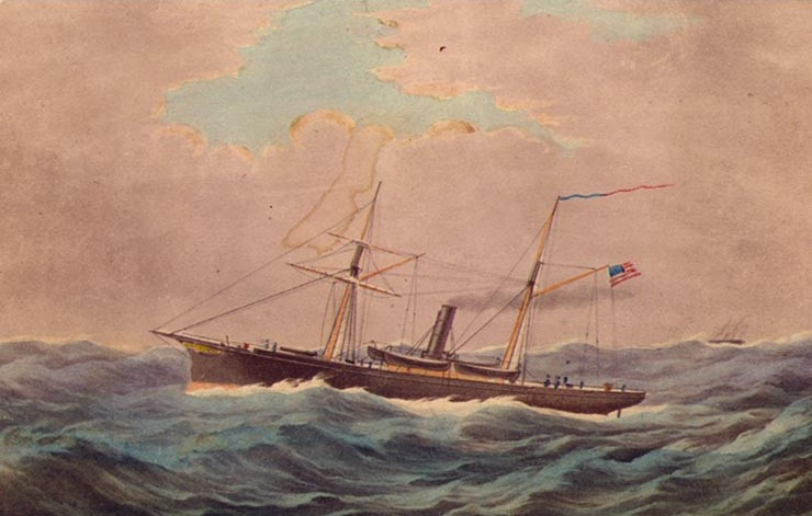 USS Monticello as she appeared just before the war. Built in 1859, she was purchased by the Navy in 1861 and converted for military use.