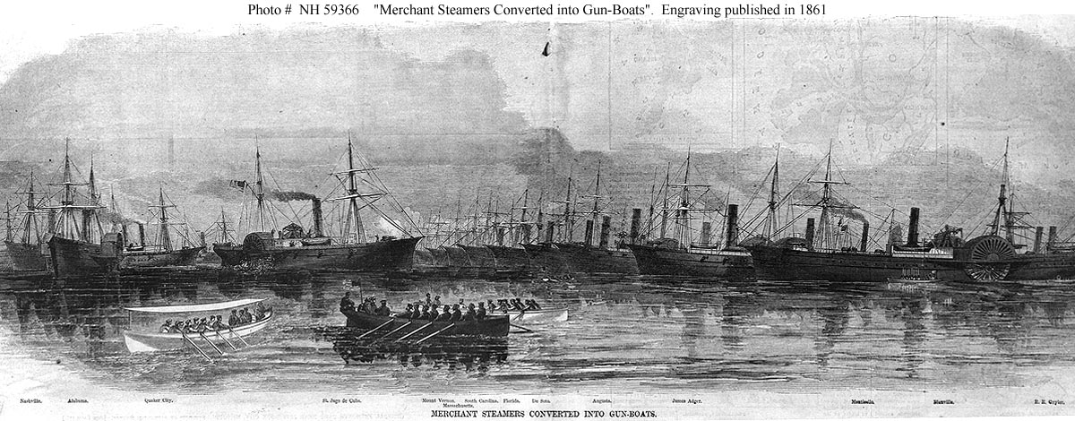 A Harper's Weekly engraving showing several civilian steamships acquired by the US Navy in 1861 and converted to join the blockading squadrons.  Monticello is third from right.
