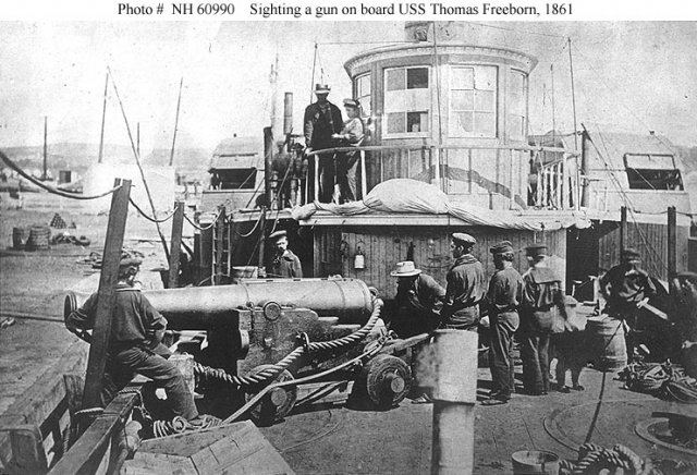 Deck of the USS Thomas Freeborn in 1861. The ship was originally conditioned for the planned relief of Fort Sumter, which was aborted when the fort was bombarded.  She also participated in the hunt for John Wilkes Booth, Lincoln's assassin, in 1865.