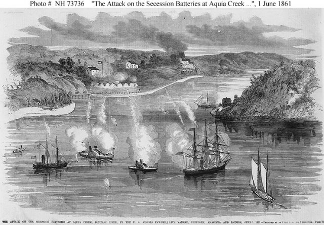 The USS Thomas Freeborn participating in a battle against Confederate batteries at Acuia Creek the month after the Battle of Sewell's Point. The Freeborn is the small vessel in the center.