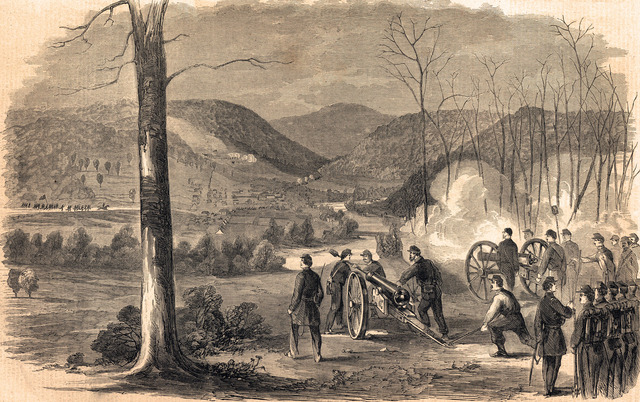 Union Artillery firing upon Philippi
