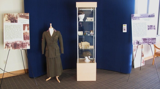 There are special exhibits on the role of women in major wars, such as this display on women in World War I.