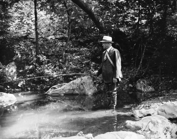 President Hoover Doing What He Loves- Trout Fishing
