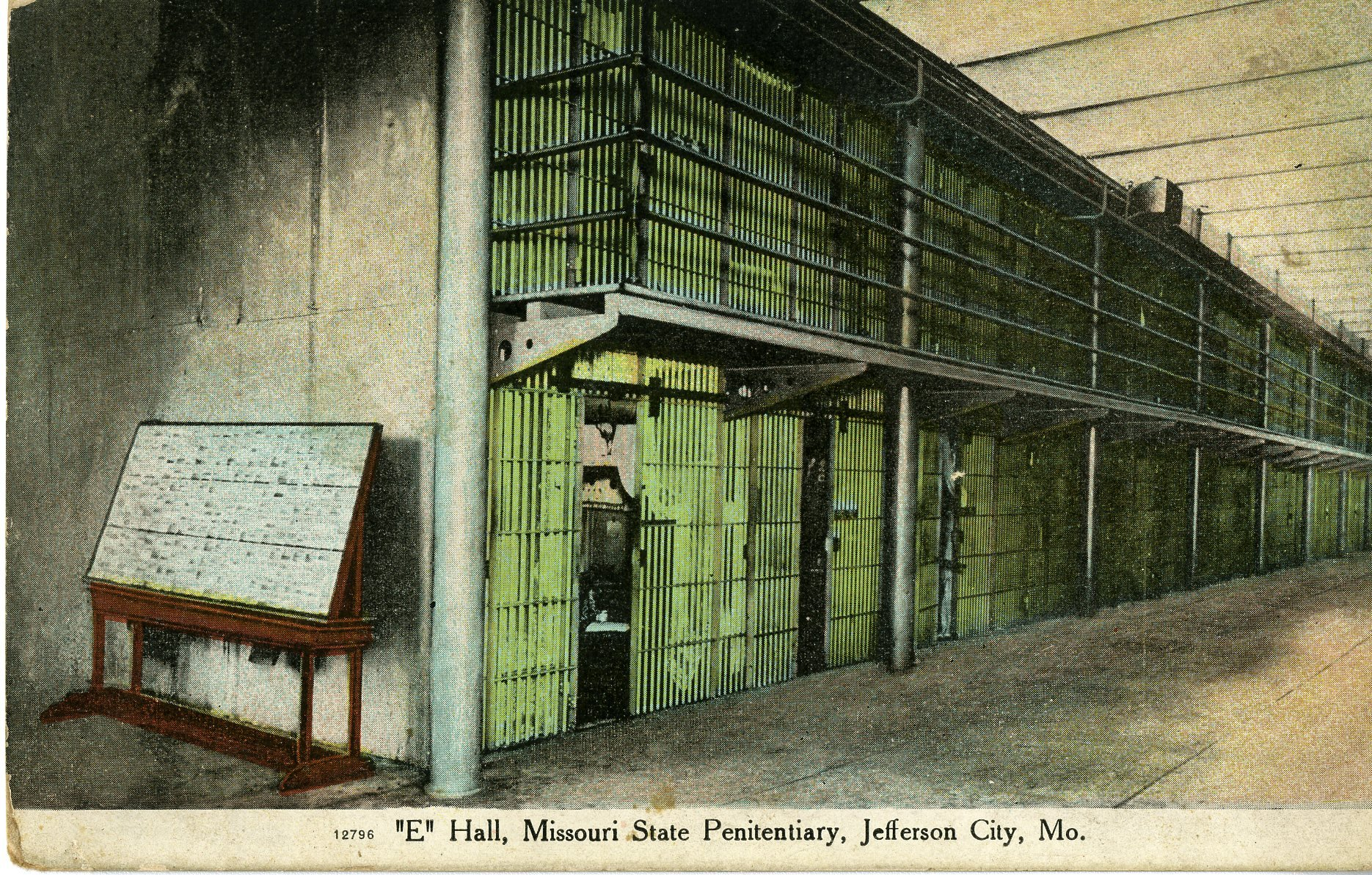 """Postcard showing the cellblocks in """"E-Hall"""" at the Missouri State Penitentiary.  Postcard mailed in 1954.  Image courtesy of the Missouri State Museum's collection."""
