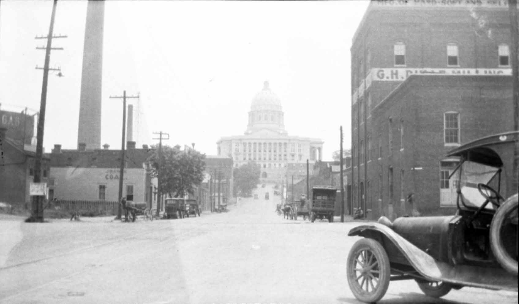 View of the Missouri State Capitol from West Main Street/Mill Bottom area c. 1923.