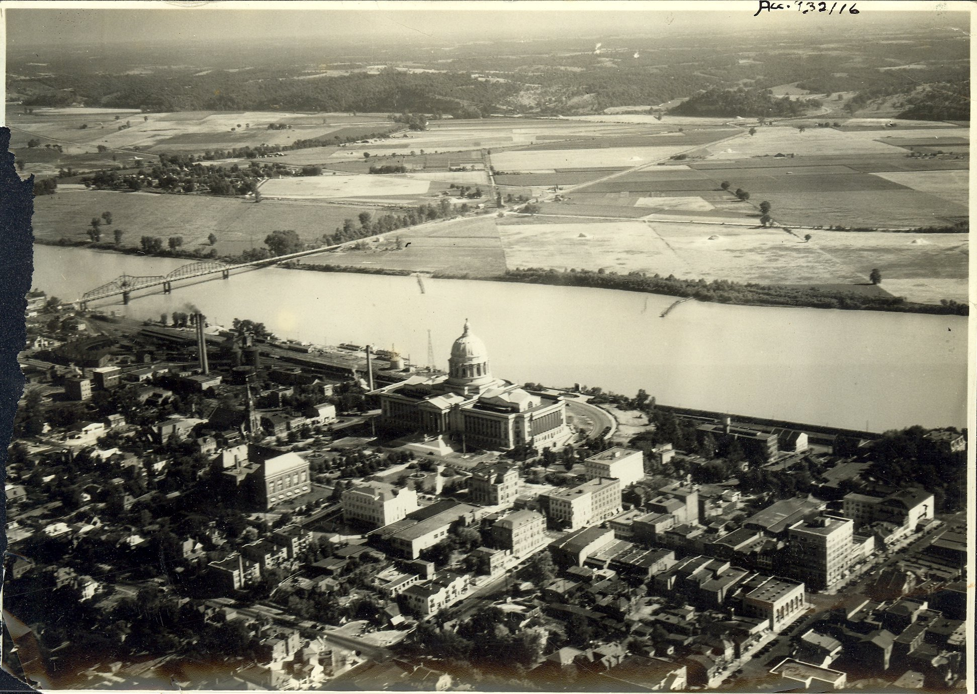 Aerial view of Jefferson City and Missouri State Capitol c. 1934