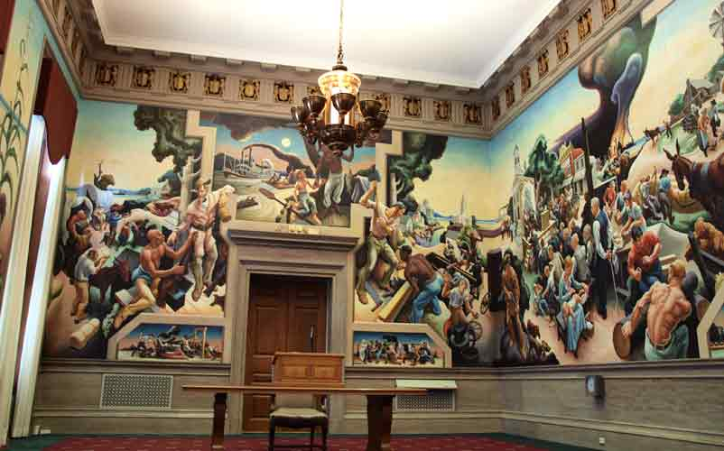 "Thomas Benton's mural ""A Social History of the State of Missouri' in the Missouri House Lounge on the 3rd floor of the State Capitol building. Painted in 1936."