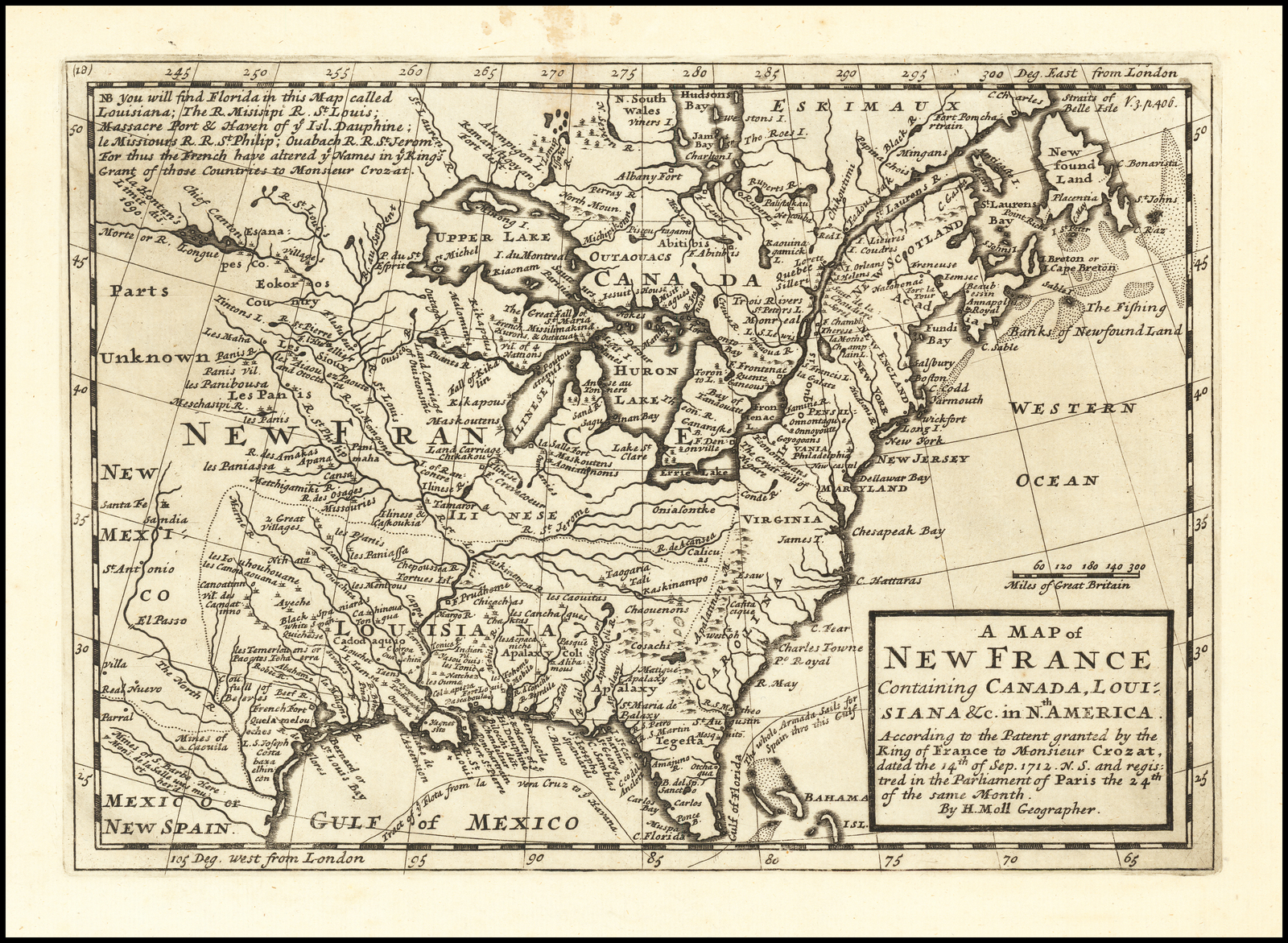 "Digital Copy of Herman Moll Map of New France, courtesy of Micah I. Evans.  This English language map of New France is based on the Crozat Patent issued in Septemper 1712.  While the rivers are roughly placed and disappear into ""Parts Unknown"", the Panis, or Pawnee, are shown.  The presumed Pawnee villages visited by Villasur match those near present-day Columbus Nebraska."