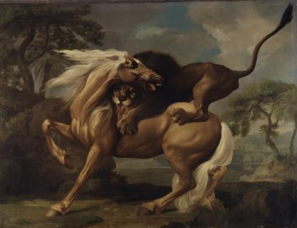 British Horse Attacked by a Lion (1762) by George Stubbs, featured at the Yale Center for British Art