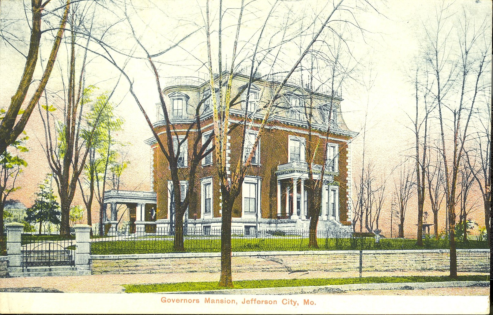 Postcard of the Missouri Governor's Mansion in Jefferson City, c. 1908 Image courtesy of the Missouri State Museum