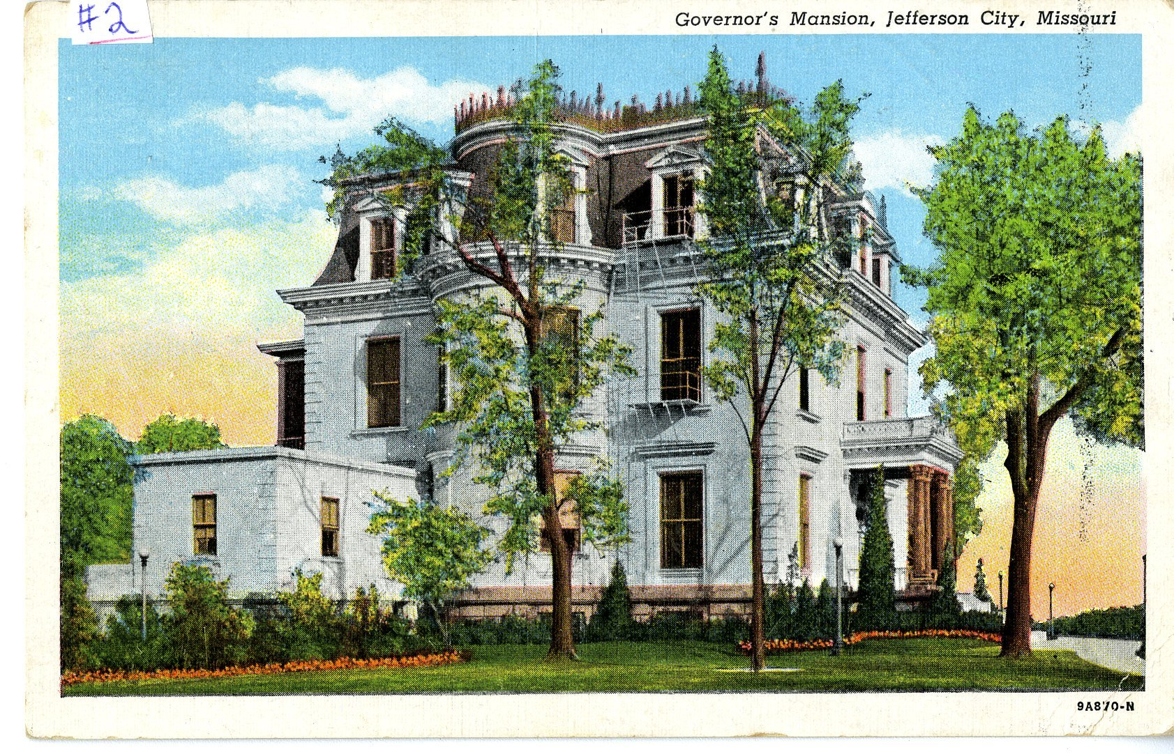 Postcard of the Missouri Governor's Mansion in Jefferson City c. 1945. Image courtesy of the Missouri State Museum
