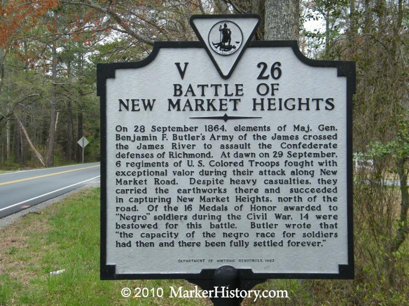 Marker for New Market Heights Battleground
