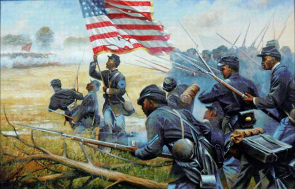 Painting of African American troops at New Market Heights