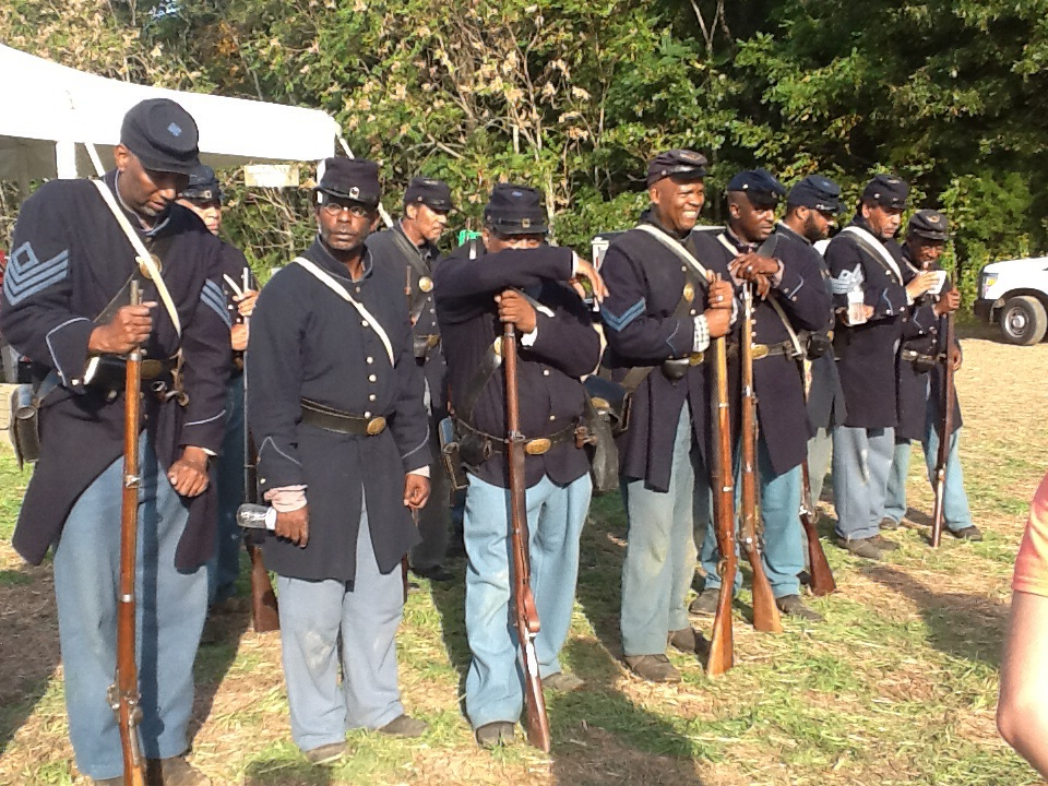 Reenactors of the USCT participate in the Sesquicentennial (150th anniversary) of the Battle of New Market Heights in 2014