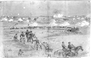 An Alfred Waud on-the-scene-sketch of the the mine explosion, July 30th, 1864