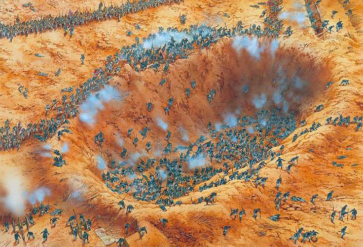 An ariel rendition of how the fighting in the Crater may have appeared.