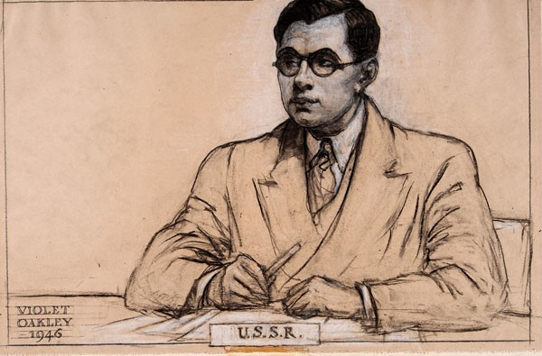 Portrait of a delegate, 1946, completed by Oakley while observing relations at a UN meeting