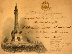 Invitation to the dedication ceremony of the Soldiers' and Sailors' Monument, 1887
