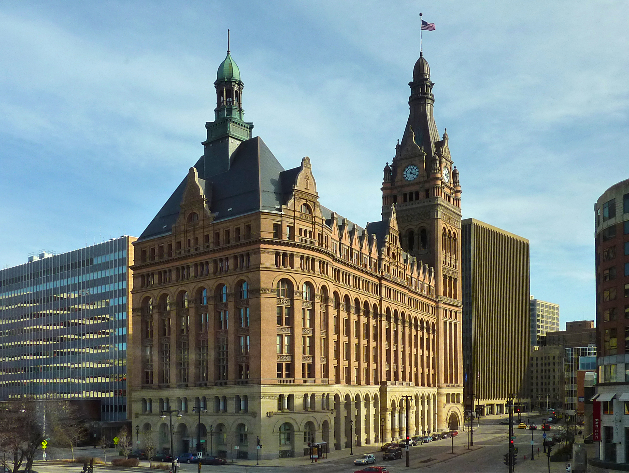 The beautiful Milwaukee City Hall was built in 1895 and remained the city's tallest building until 1973 when the First Wisconsin Building, now the U.S. Bank Building, was constructed.