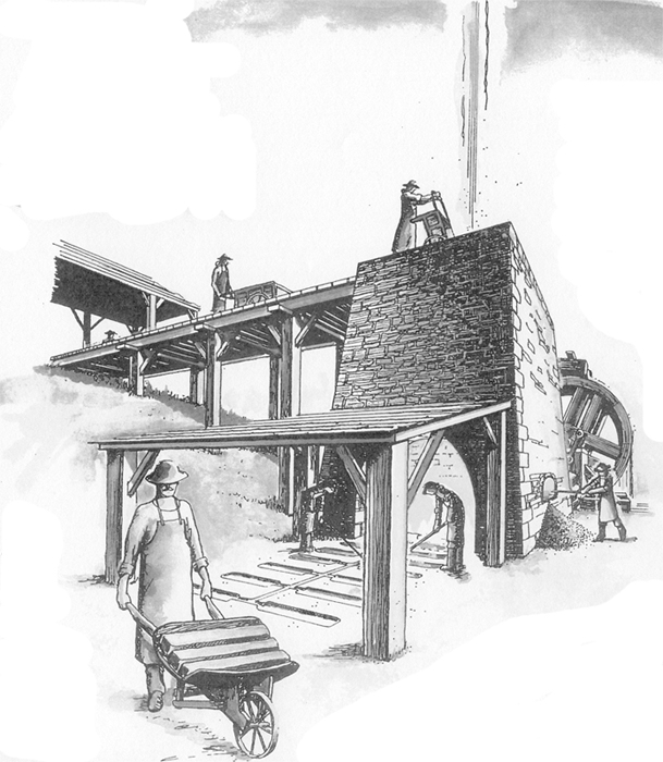 """Artists rendition of an early blast furnace. Notice the workers """"charging"""" or loading the iron ore, charcoal, and limestone flux at the top of the furnace and the molds which the melted iron was pored into at the base of the furnace."""