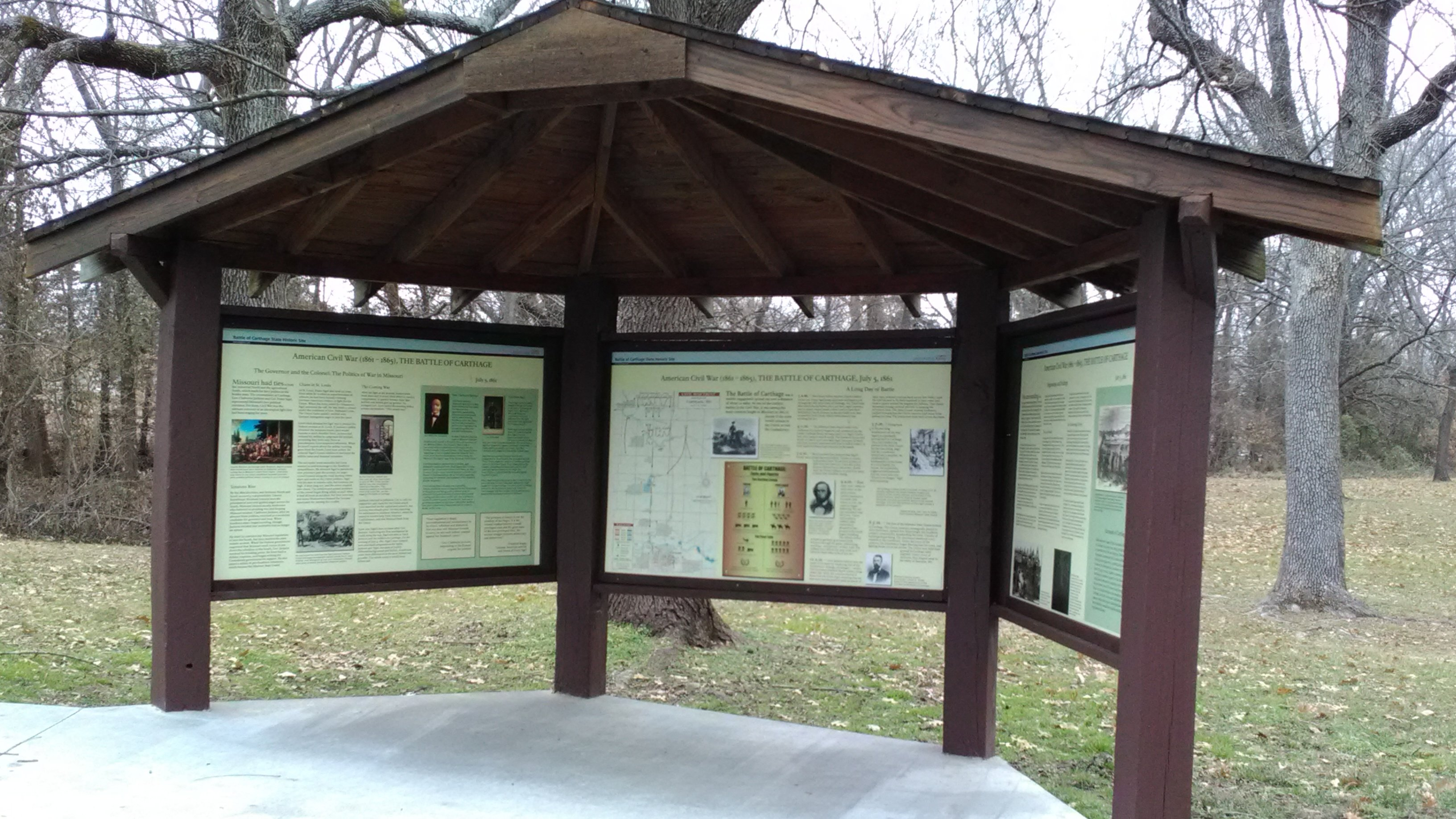 Exhibit kiosk at Battle of Carthage State Historic Site.