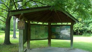 This shelter displays information about the battle