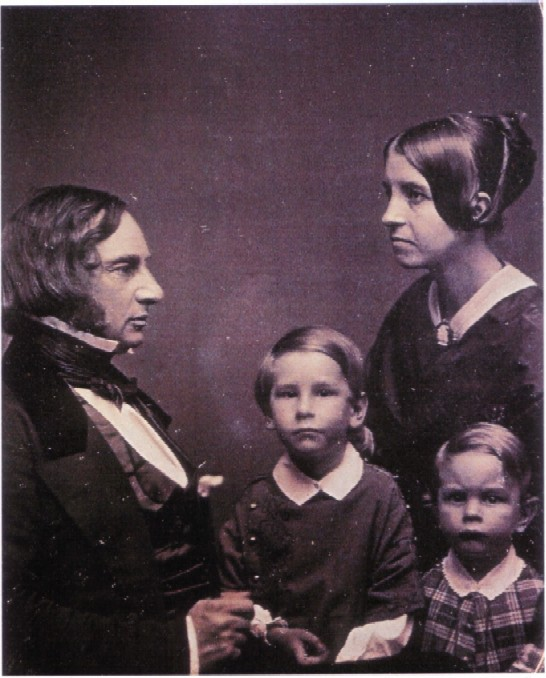Henry Wadsworth Longfellow with his wife Fanny Longfellow and two children.