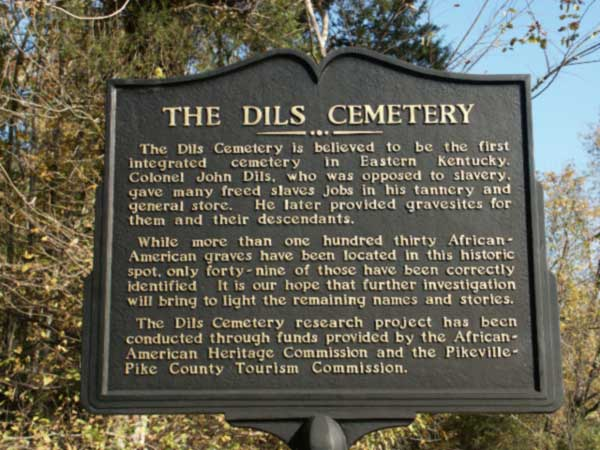 The historical marker for Dils Cemetery.