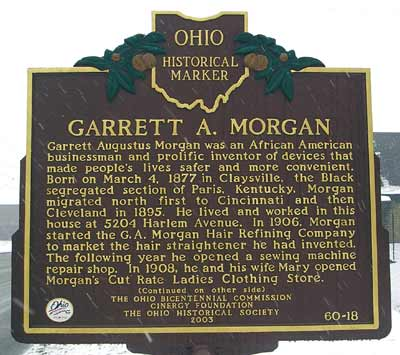 One side of Morgan's historic marker located at the sight of his former home in Cleveland, Ohio.