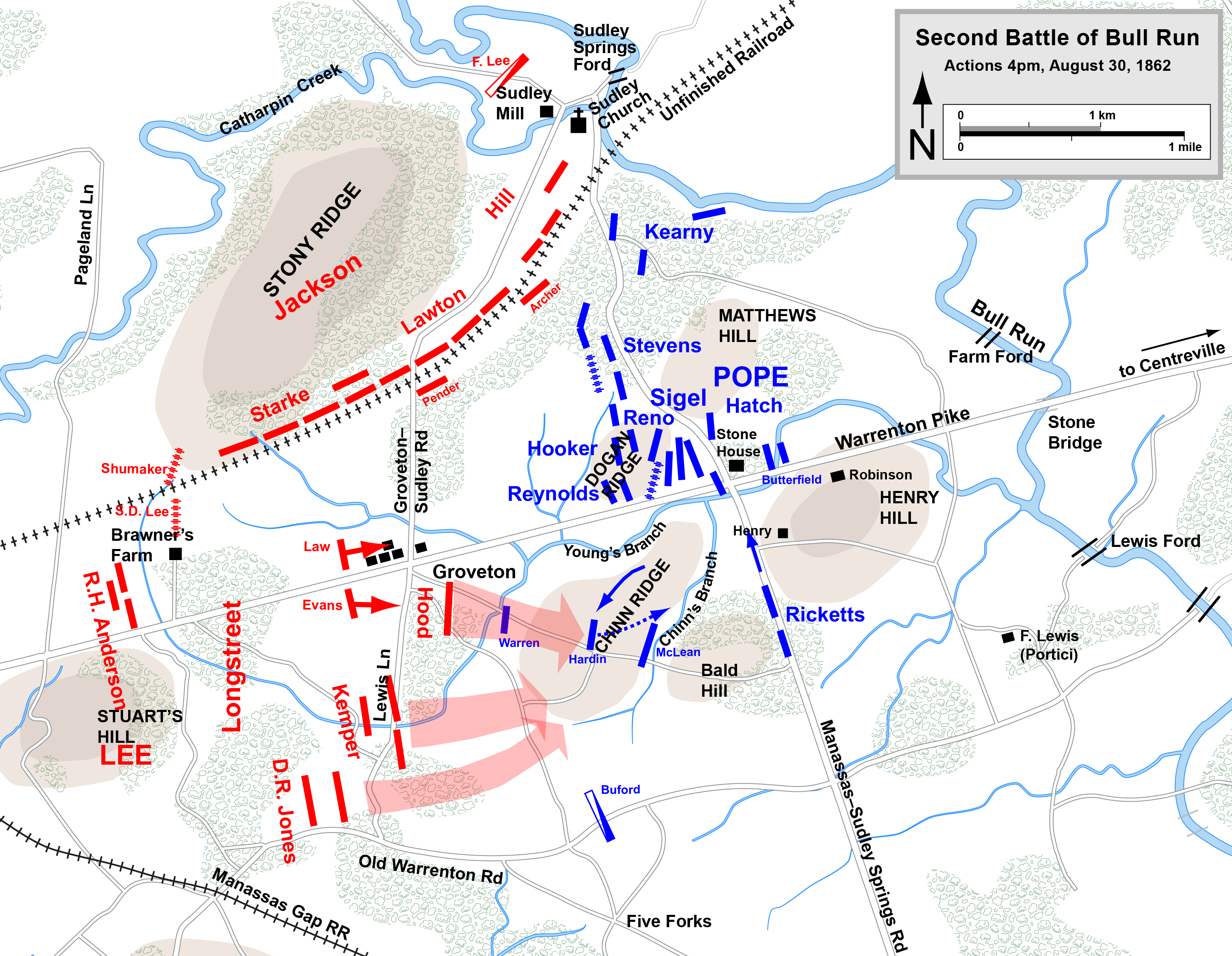 Map showing the progress of the troops during the Second Battle of Bull Run