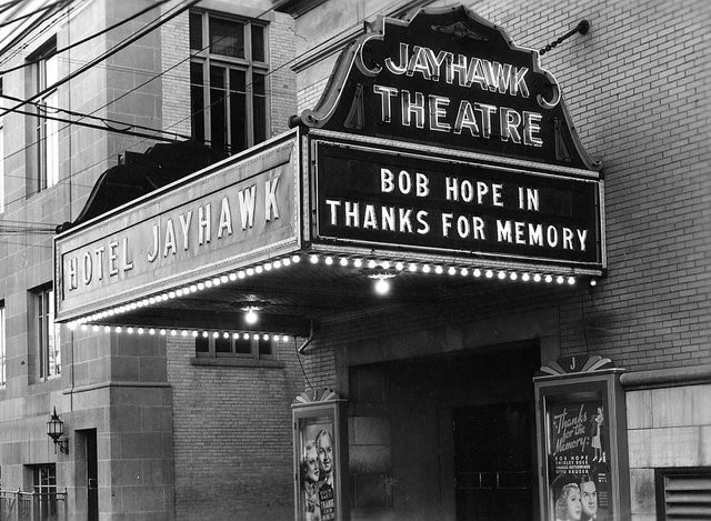 The Jayhawk marquee.