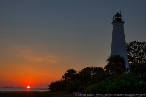 The lighthouse at sunset or sunrise.