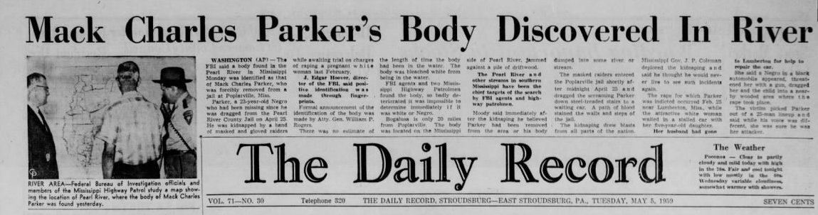 A news article of the discovery of Parker's body from the newspaper The Pocono Record from Stroudsburg, Pennsylvania.