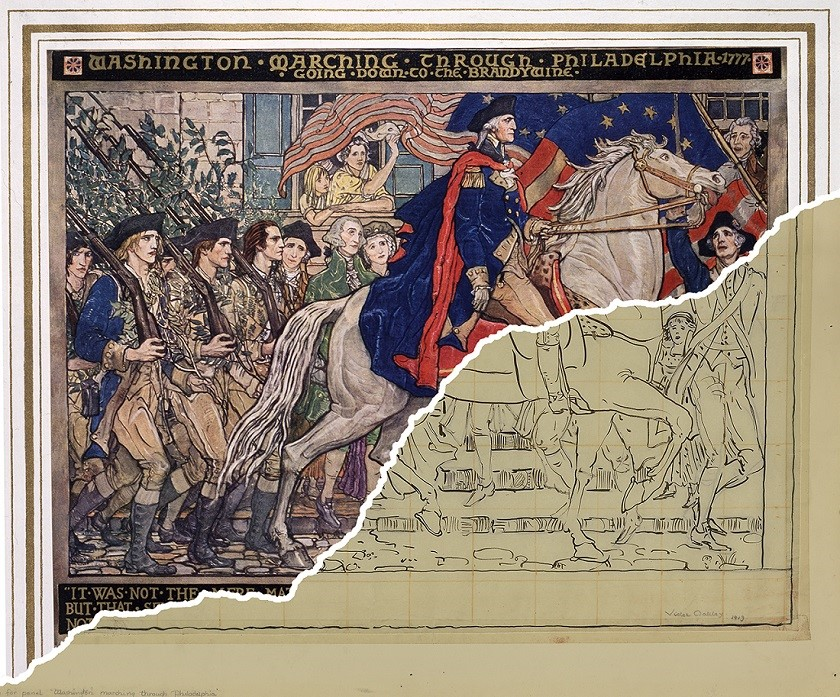 """""""General George Washington and the Troops of the Revolution"""" mural (making progress), displayed in the Pennsylvania State Capitol in commemoration of Washington's march through Philadelphia"""