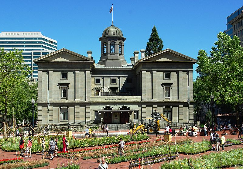 Completed in 1875, Pioneer Courthouse is the second oldest federal courthouse west of the Mississippi.