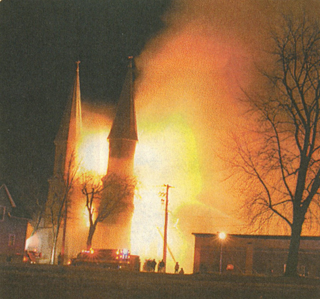 Fire engulfs St. Louis Church on the evening of March 19, 2007.