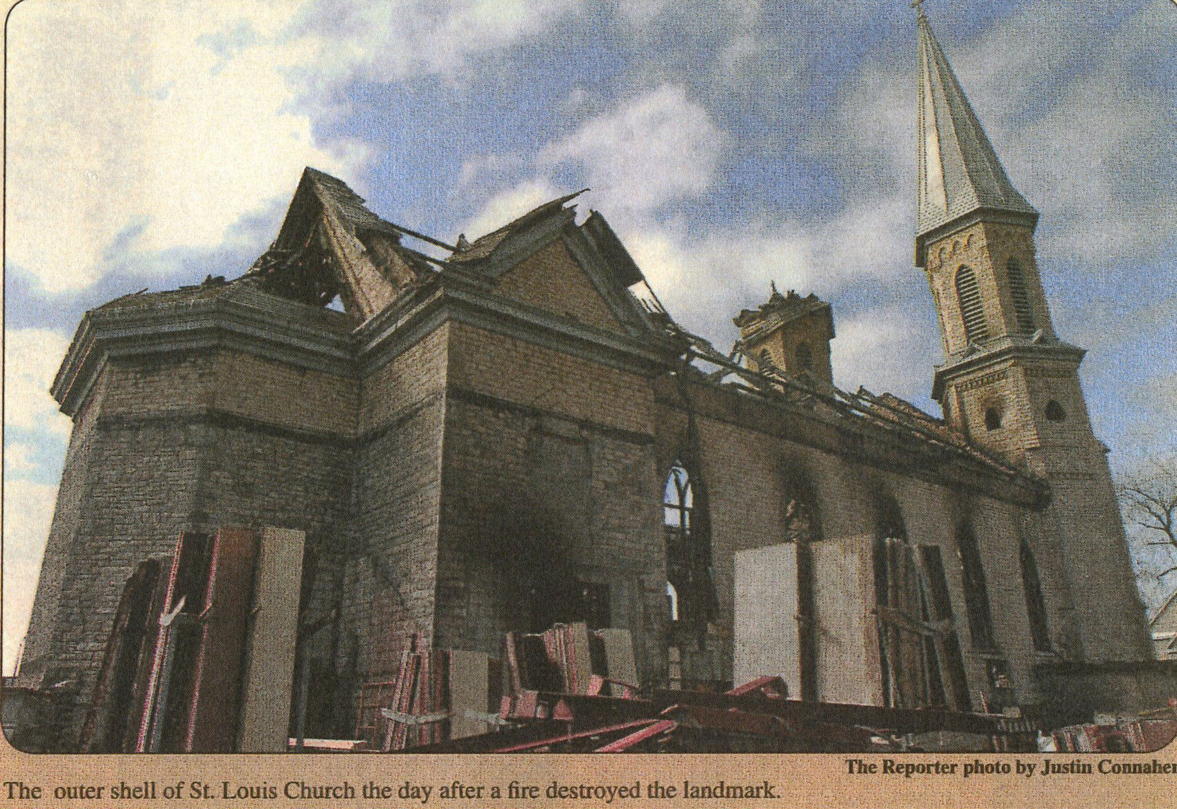Remains of St. Louis Church after the fire, March 2007.