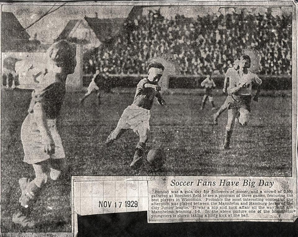 Soccer at Borchert Field, 1929