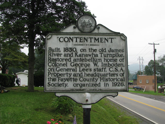 The West Virginia state roadside historical marker adjacent to the Contentment House.
